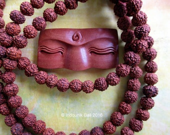 Buddha Eyes Carved Sawo Wood Cabochon 40mm for Vegan Jewelry