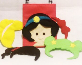 Hair styles actiivtity busy bag Play Set includes bag with 4 hair styles and 2 headbands Felt game #106BB