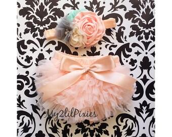 Baby Girl Ruffle Bottom Bloomer & Headband Set - Peach Ruffle Bloomer- Newborn Photo Set - Infant Bloomers - Diaper Cover - Baby Gift-