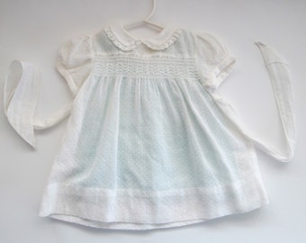 Vintage Baby Dress Dotted Swiss Lawn Size 12M White