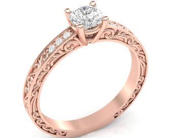 Rose Gold Engagement Ring Vintage Ring Filigree Shank .06 ct Diamonds Semi Mount for Round Center Brand New 14K Setting Only or Moissanite