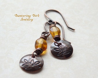 Small Amber Earrings with Simple Hammered Copper Disc, Hand Stamped Leaf Design, Rustic Southwestern Jewelry