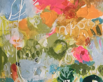 OriginalAbstract  Painting on 18 x 24 on Paper by Karen Fields