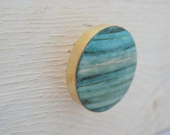 Gold Drawer Knobs with Teal Stone Inlay, Drawer Pull, Cabinet Pull, Cabinet Knobs