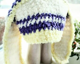 6 to 12m Baby Baby Bunny Hat Yellow Purple Cream Stripe Crochet Baby Hat Baby Girl Hat Rabbit Baby Beanie Photo Prop, Baby Gift