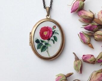 Red Rose Locket - Spring Vintage Flower Illustration - Botanical Brass Photo Locket Necklace