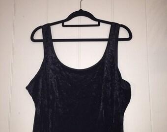 Velour black floor length goth dress