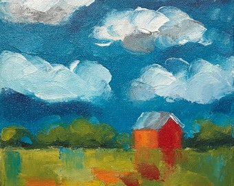 "Original painting ""Distant Red Barn II"""