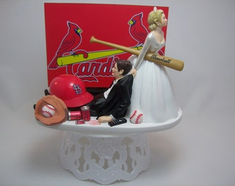 ST LOUIS CARDINALS Baseball or your team Bride and Groom Funny Wedding Cake Topper