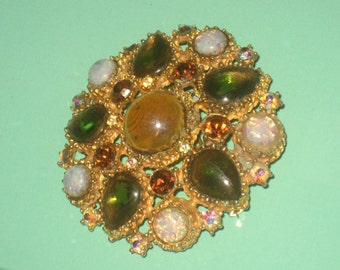 Olivine and Topaz Brooch, Opal Stones, Adorned with Pear and Round Stones, Gold Tone, Romantic Art Nouveau, Green and Topaz and Opal