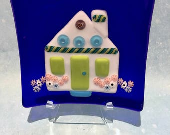 Millefiori Dish, New Home House Cottage, Fused Glass Flowers Latticino Heart Murrine, Genuine Italian/Murano Glass, One of a Kind, Gift