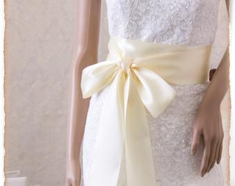 Ivory Wedding Sash Belt, Bridal Sash, IVORY Wedding Sash, Ivory Satin Ribbon Bridal Belt,  Bridal Sash, Satin Bridal Sash