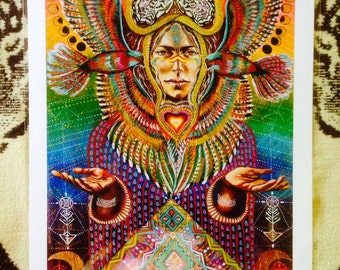 LARGE Bird Tribe Goddess Moon Phases Rainbow Hawk Whiye buterfly snake Shakti Cosmic visionary art