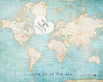 Anniversary World Map, First Year Anniversary Gift, Relationship Gift, Paper Anniversary, One Year Anniversary Gifts, 1st Year Anniversary