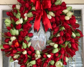 Large spring wreath, tulip wreath, funeral wreath, red tulip wreath, red spring wreath, flower wreath, custom wreaths, front door wreath