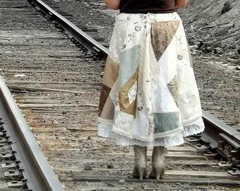 Mori Girl Embroidered Linen Patchwork Skirt, Victorian Lagenlook, Womens Long Skirt, Plus Size, Shabby Chic, Prairie