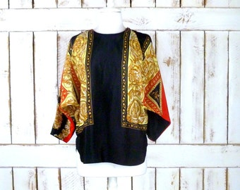 Vintage black/red/gold dolman sleeve scarf blouse/floral print silky top