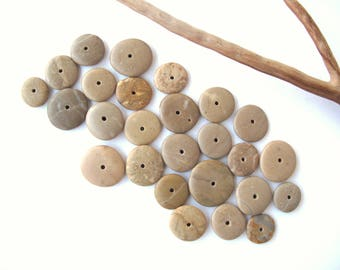 Stone Rock Donut Beads Drilled Stone Spacers Mediterranean Natural Stone Beads Diy Jewelry Pairs SMALL TAN WHEELS 12-18 mm