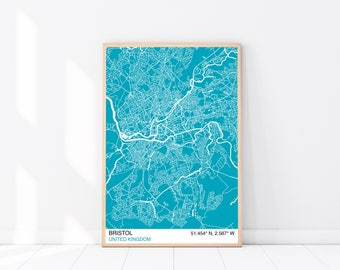 Bristol Map Print, Custom Map Print, Street Map, Choose Your Own City, Wall Art, Map Wall Art, City Map Print, Bristol City Map Poster
