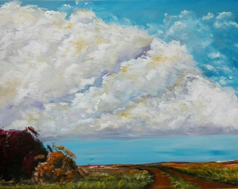 South-African Art | Acrylic Painting | Painting of Farm Landscapes | Painting of Autumn | Titled: Oppad Na Winter / The Road to Winter
