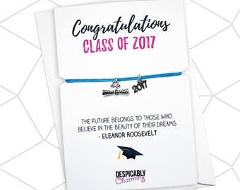 Graduation Gift, Graduation Bracelet, Happy Graduation, Graduation Wish Bracelet, Graduate Gift, Class of 2017, Graduation party favour