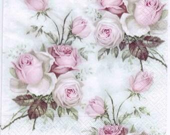 Decoupage Napkins | Pastel Rose Bouquet | Rose Napkins|Design Luncheon Napkins|Romantic Napkins|Paper Napkins for Decoupage