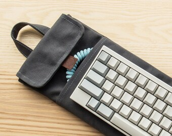 Charcoal Grey   60% Mechanical Keyboard Sleeve or Carry Case   Water Resistant Lightly Waxed Canvas and Leather   Made to Order
