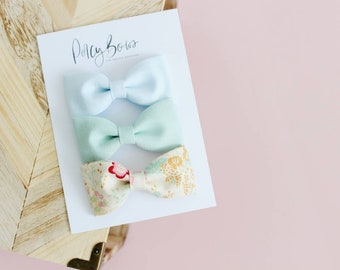 Classic bow set | blue/mint/floral