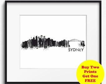 Sydney Skyline Watercolor, Black and White Art Print (724) Sydney Cityscape, Australia Art Print, Sydney Poster, Sydney Art Print