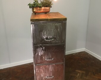 SKINA - Super cool Vintage steel filing cabinet is 1960's with a Reclaimed Wood Top. Custom Made Order.