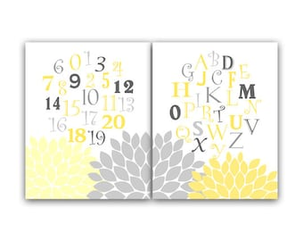 Yellow and Gray Nursery Decor, Instant Download Alphabet Nursery Wall Art, ABC Nursery, Printable Kids Art  - KIDS48