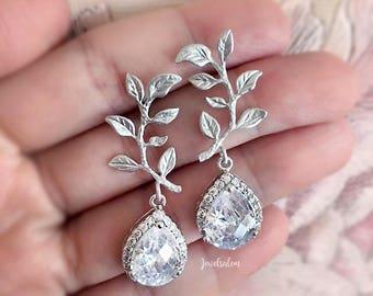 Silver Vine Earrings, Bridal Earrings, Cubic Zirconia, Leaf, Wedding, Personalised Bridesmaids Earrings Set, Gift, Crystal, Rhinestone