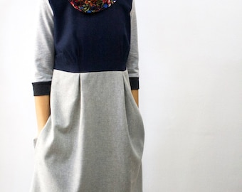 Casual winter dress, A line dress, Wool dress, Dress with pockets, Dress with sleeves