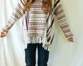 Vintage 70s Earthy Bohemian Fringe Sweater