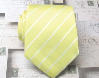 Mens Ties Cool Lemon Yellow and White Stripes Necktie