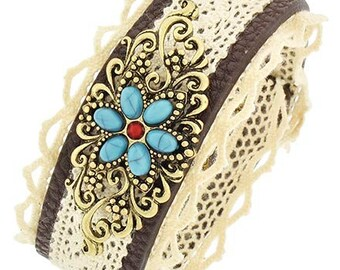 Sale| Boho Chic Lace Cuff Bracelet - Fabric Cuff - Flower Embellishment - Turquoise Flower - Southwest - Cowgirl - Fabric Bracelet - Floral