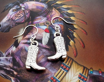 Cowgirl Boots Earrings, Country Girl at Heart - Cowgirl Jewelry - Silver Dangle Earrings