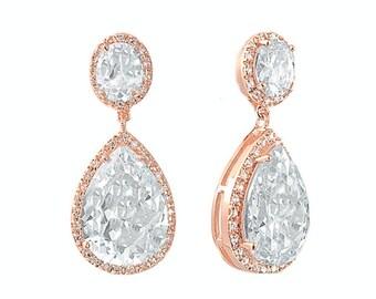 Rose gold earrings, bridal earrings, rose gold dangle earrings, rose gold crystal earrings, dangly bridal earrings, large gold earrings,