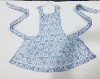 Blue and white girls apron