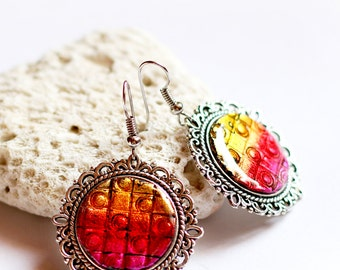 Colorful earrings Clip on earrings Women gift for her Birthday gifts for women Gift for sister Resin jewelry Bright jewelry Handmade gifts