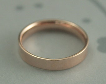 Rose Gold Wedding Band--Women's Gold Band--Men's Gold Band--4mm Flat Band with Comfort Fit--High Polished or Brushed--Your Choice of Gold