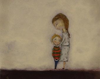 "Large wall art print/mom and son art/art gift for mom/little boy room art ""My Boy"""