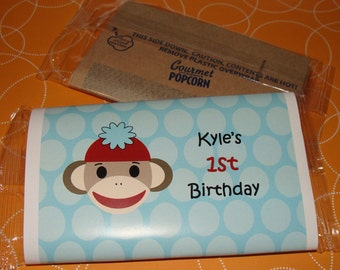 Sock Monkey Themed Popcorn Birthday Party Favors or Baby Shower Party Favors 1st 2nd 3rd 4th 5th 6th Birthday Favors