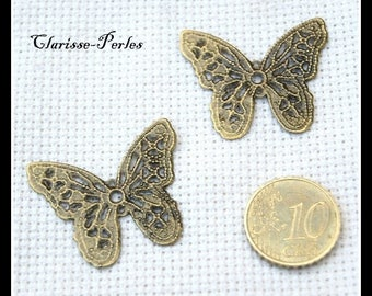 10 prints, butterfly, filigree, bronze charms charms charms