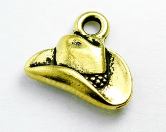 Cowboy Hat Charm, 12x14mm, Antique 24K Gold Plated Pewter, Made in USA, #TC166