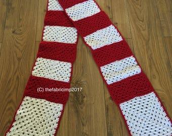 Granny square striped scarf / football scarf