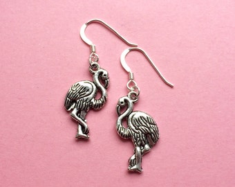 Flamingo earrings, flamingo jewelry, valentine mothers day gift tropical beach earrings, animal earrings, summer trend, sterling silver, UK