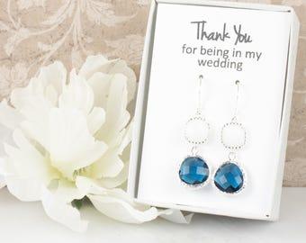 Long Navy White Silver Earrings, Navy White Silver Earrings, Blue Silver Earrings, Bridesmaid Earrings, Navy Wedding Jewelry