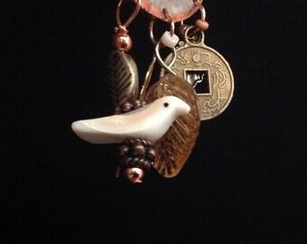 Copper Bezel Antler Earrings w/ MOP  Birds