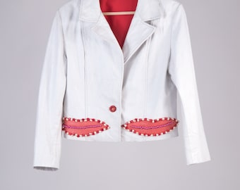 Leather Blazer 80 ' Versace style, pink white pearl 100% handmade-cod D32